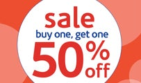 sale: buy one, get one 50% off